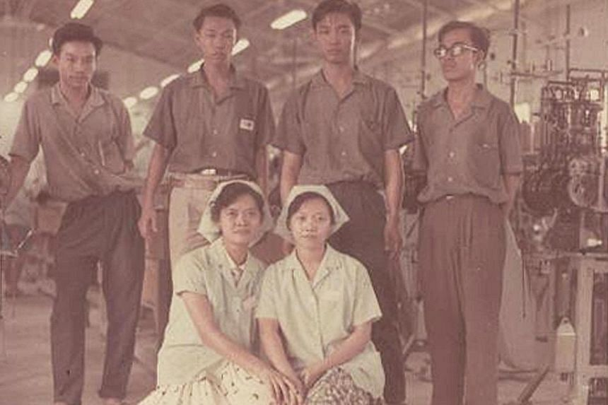 Above: Mr Fong (third from right) and his former colleagues at an RC centre in Boon Lay. Mr Sin (in pink), who now lives in Perth, was back for a visit. Left: Swan Socks workers at the factory's knitting department in 1965. Mr Fong (far left) and his