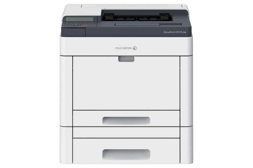 Fuji Xerox highlights mobile connectivity as one of the DocuPrint CP315 dw printer's key features.