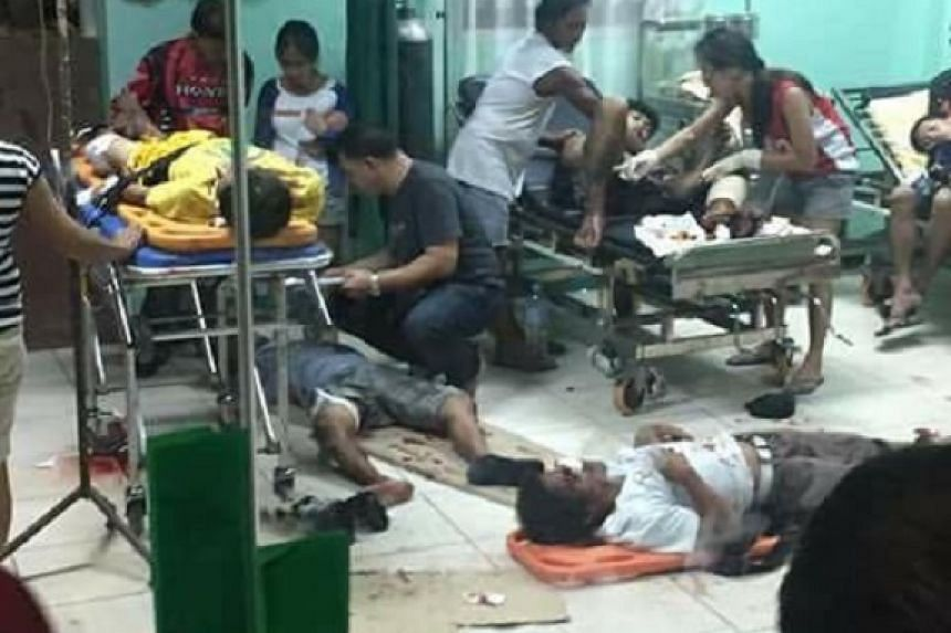Victims of the blast, which occurred in the town plaza at Hilongos, in Leyte province, getting emergency treatment at a local hospital on Wednesday (Dec 28).