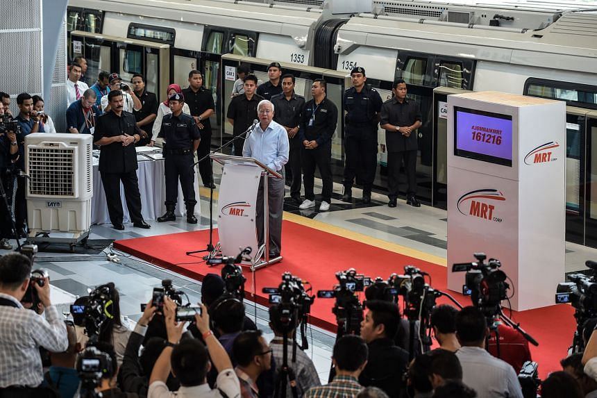 Mr Najib launching Malaysia's MRT on Dec 15. The lack of public trust stands in the way of Malaysia's long-term goals.
