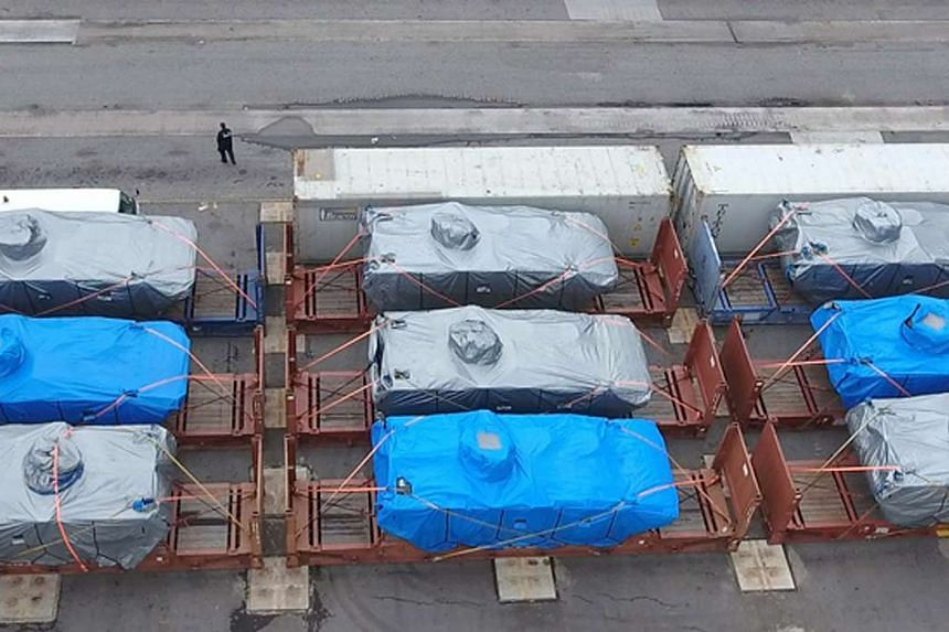 The Terrex vehicles detained by Hong Kong customs on Nov 23, 2016.