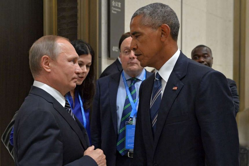 Russian President Vladimir Putin (left) talks to US President Barack Obama (right) during a meeting on the sidelines of the G-20 Summit in China.
