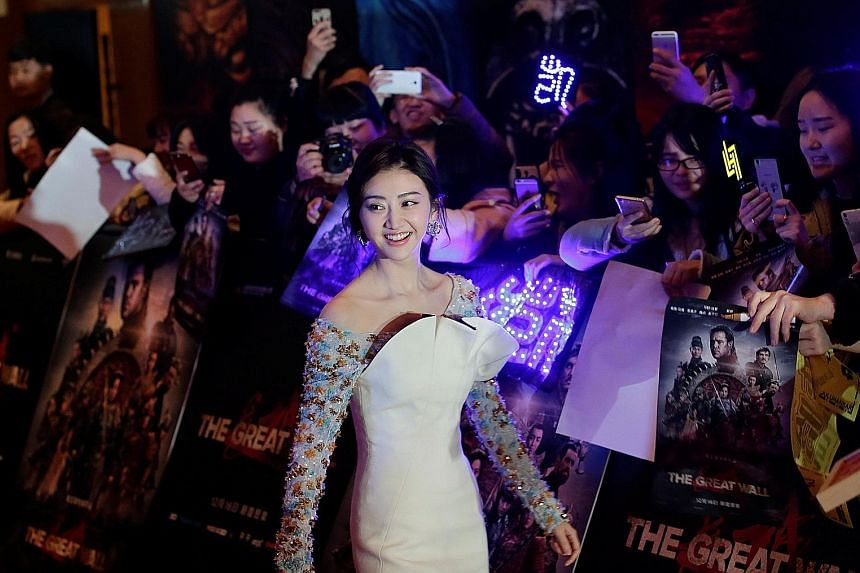 Chinese actress Jing Tian attending a red-carpet event in Beijing last month for The Great Wall, in which she stars as the commander of an army troop.
