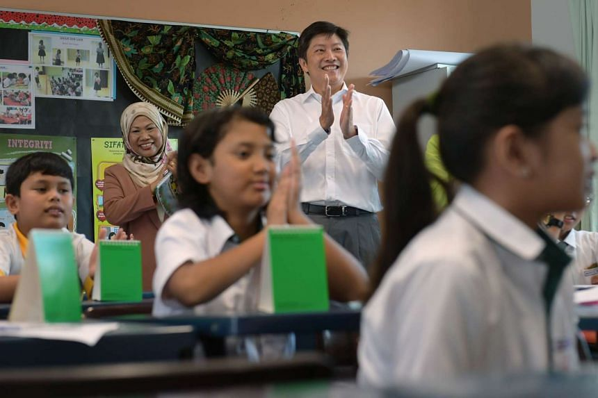 Minister for Education (Schools) Ng Chee Meng attending a Malay language class at Princess Elizabeth Primary on Jan 3, 2017.