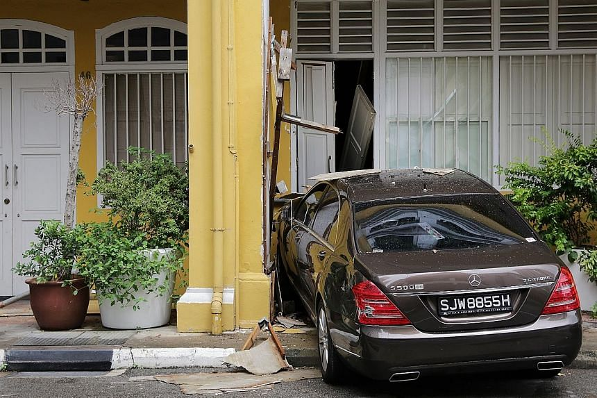 The elderly driver lost control of the car and it zoomed across Bukit Pasoh Road before ramming into the side of Oso restaurant.