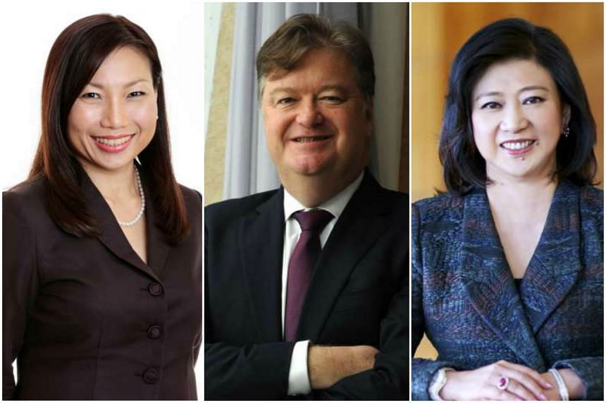 (From left) CapitaLand Commercial Trust Management (CCTM) Chief Executive Lynette Leong, City Developments (CDL) Chief Executive Grant Kelley, and Singtel Group Chief Executive Chua Sock Koong.