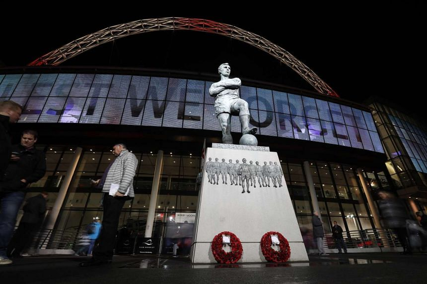 The Bobby Moore statue outside of Wembley stadium.