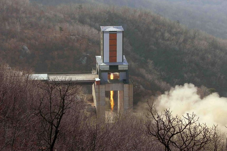 A new engine for an intercontinental ballistic missile (ICBM) is tested at a test site at Sohae Space Center in Cholsan County, North Pyongan province in North Korea in this undated photo released by North Korea's Korean Central News Agency.