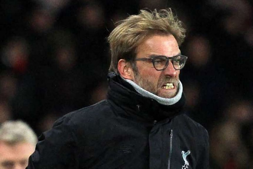 File photo of Jurgen Klopp. Klopp could not hide his frustration on Monday (Jan 2) as Liverpool spurned a chance to close the gap on Chelsea to three points at the top of the English Premier League.