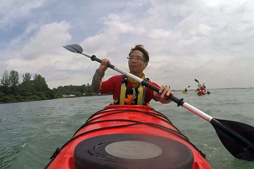 As a kayaking leader for outdoor adventure company Asian Detours, Mr Malvin Foo leads an average of 10 participants at a time into the mangroves of Pulau Ubin.