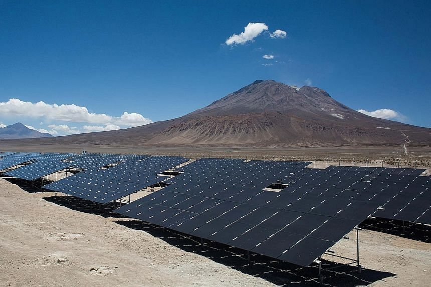 Solar panels at a park in Chile. Better technology has been key in boosting the solar power industry.