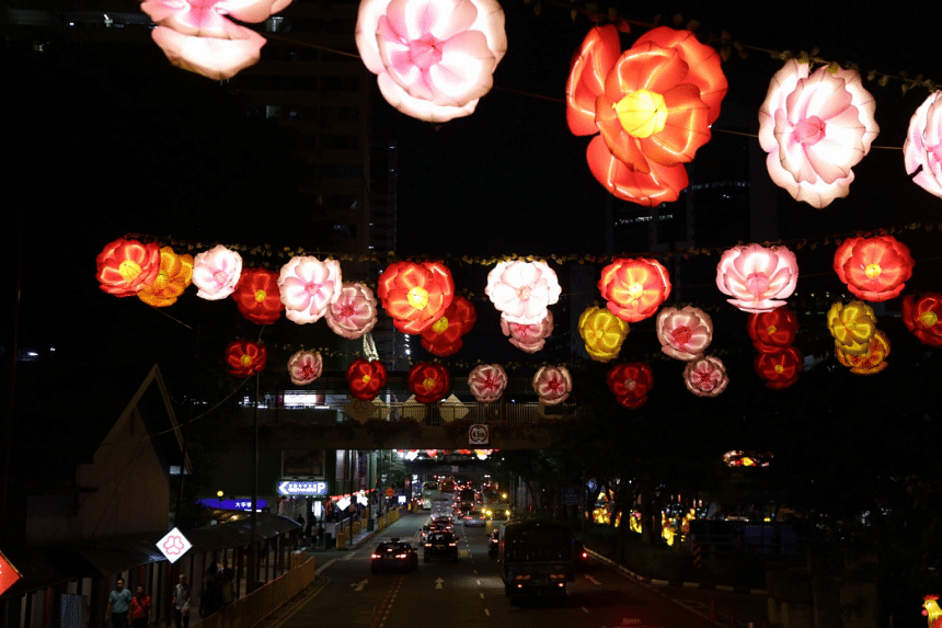 Chinese New Year street decorations at Chinatown on Jan 4, 2016.
