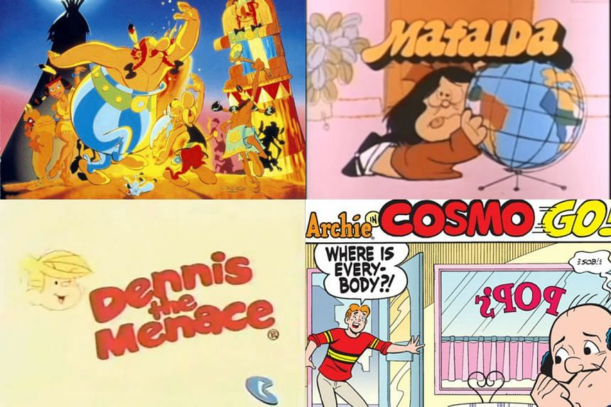 (Clockwise from top left) Asterix, Mafalda, Archie comics and Dennis The Menace.