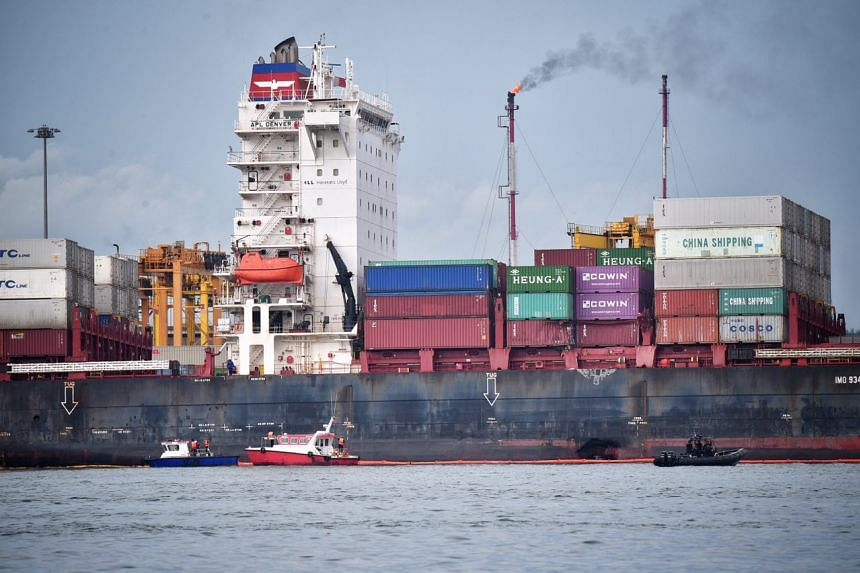 The Gibraltar-registered container vessel APL Denver, with what looks like a damaged hull, lies anchored off Pasir Gudang Port on Jan 4, 2017.