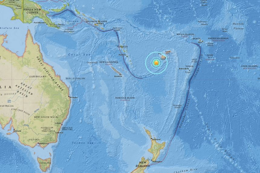 An earthquake with a magnitude of 7.2 struck 284km off the coast of Fiji.