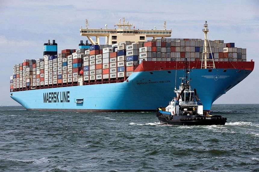 The MV Maersk Mc-Kinney Moller, the world's biggest container ship, arrives at the harbour of Rotterdam on Aug 16, 2013.