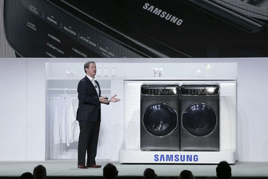 John Herrington, senior vice president of Samsung Electronics America, announcing the company's latest washer-dryer combo, the FlexWash and FlexDry.