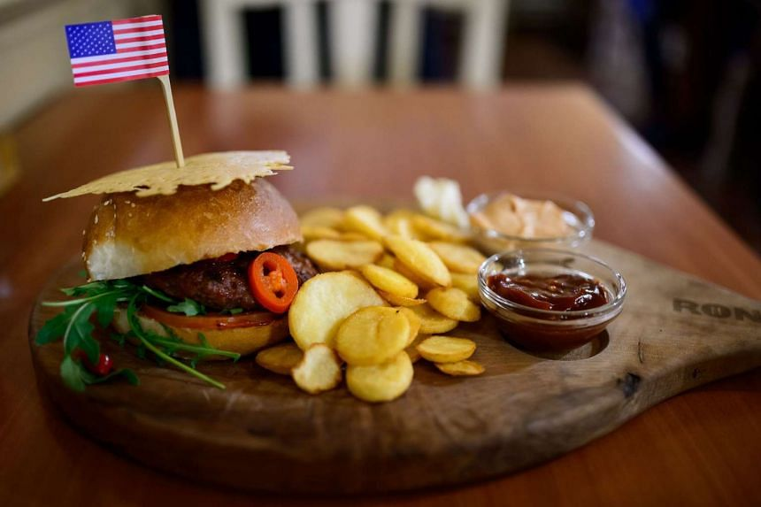 A hamburger called the Presidential Hamburger is pictured on Dec 20, 2016 in her hometown of Sevnica, Slovenia.