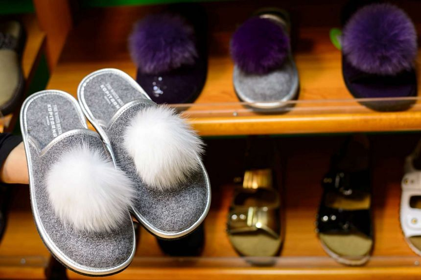 "Slippers with the lettering ""The White House"" is pictured on Dec 20, 2016 in her hometown of Sevnica, Slovenia."