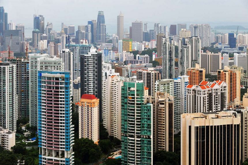 High-rise buildings in the Singapore city centre and outskirts.
