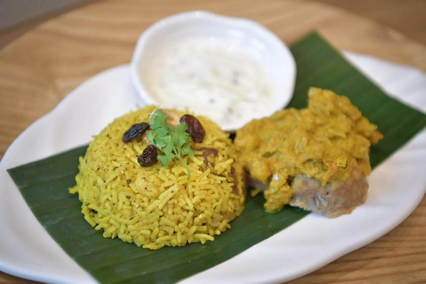Spiced briyani rice with lamb, an example of the low-glycemic index (GI) halal meals available.