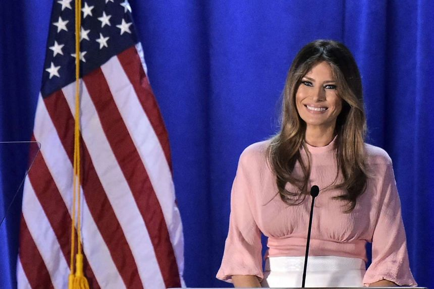 Melania Trump speaks during a rally for her husband Donald Trump on Nov 3, 2016, at the Main Line Sports Center in Berwyn, Pennsylvania.