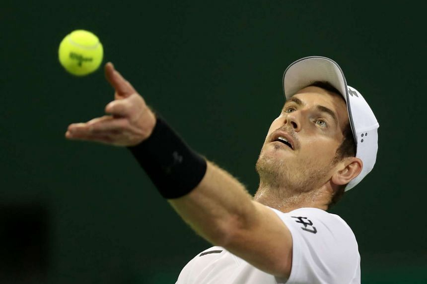 Murray (above) secured a 6-0, 7-6 (7/2) first-round victory