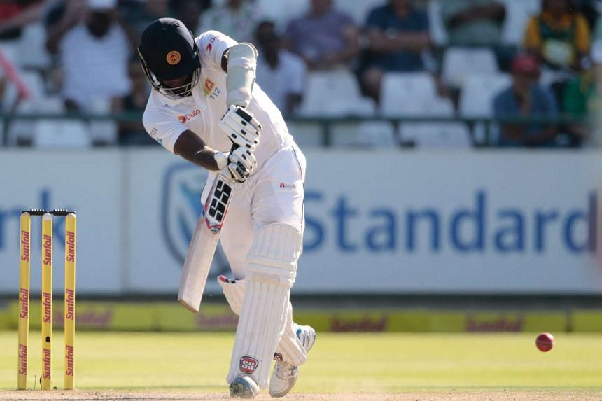 Sri Lanka batsman and captain Angelo Mathews playing a shot during the second Test cricket match between South Africa and Sri Lanka, at Newlands Cricket Stadium, on Jan 4, 2017.