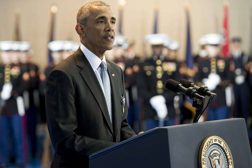 US President Barack Obama speaks during the Armed Forces Full Honor Review Farewell Ceremony for Obama in Arlington, Virginia on Jan 4, 2017.