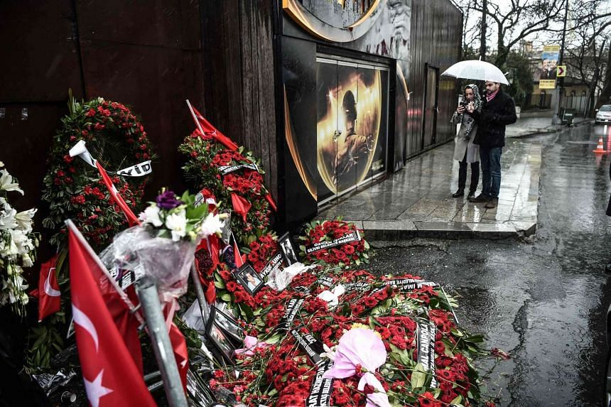 A makeshift memorial set outside the Reina nightclub in Istanbul on Jan 5, 2017.