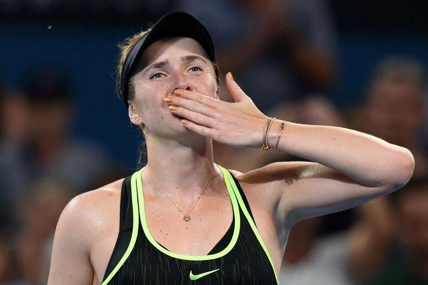 Ukraine's Elina Svitolina reacts after winning her match against Germany's Angelique Kerber on Jan 5, 2017.
