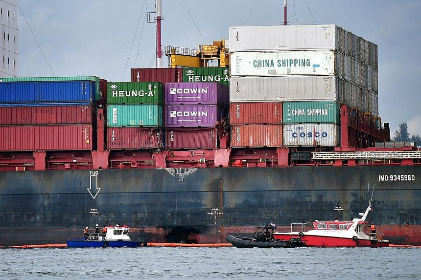 The cause of the collision between the Gibraltar-registered container vessel APL Denver (above) and a Singapore-registered container vessel on Tuesday night is under investigation.