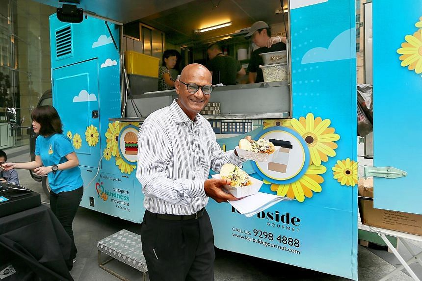 Lawyer Ajaib Haridass doing his bit to support the food drive yesterday.