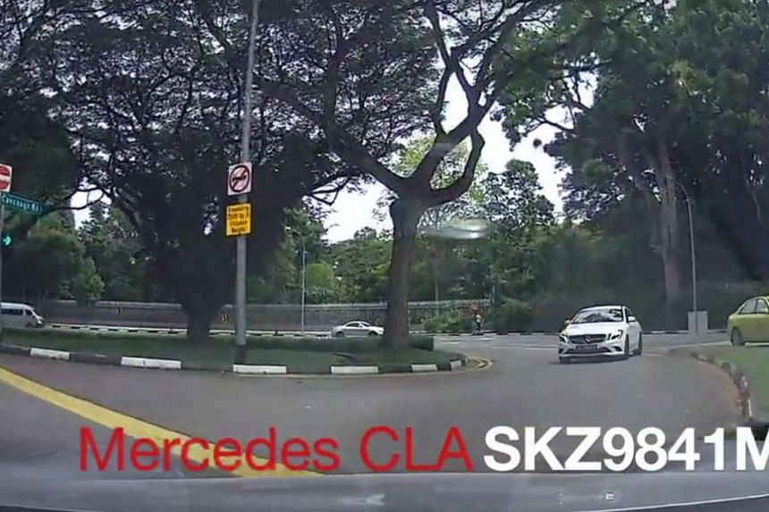 A white Mercedes was filmed seemingly driving into the wrong lane by accident along Cavenagh Road towards Bukit Timah Road on Jan 5.