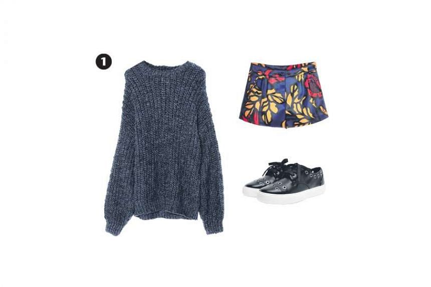 1. Acrylic and wool blend chunky knit sweater, $45.90 (usual price $69.90), from Pull & Bear; colourful shorts, $103.80, from iRoo; and grommet detail polyurethane sneakers, $53.90, from Charles &Keith