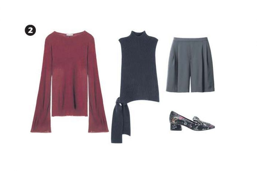 2. Burgundy flared-sleeve ribbed T-shirt, $17.90, from Zara; vest with bow detail, $135, from Cos; flared crepe shorts, $29.90, from Uniqlo; and floral print heels, $230,from Pedder Red