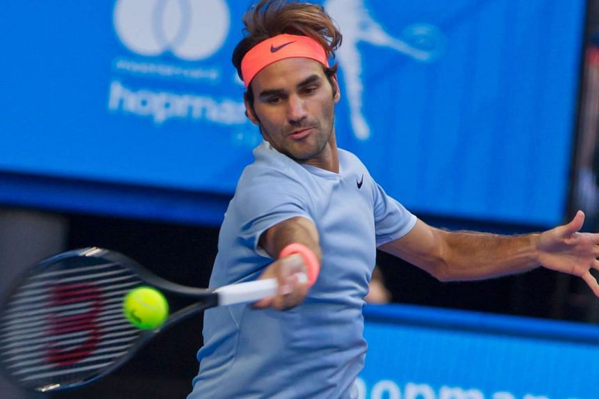 Roger Federer in action against Alexander Zverev yesterday. The 17-time Grand Slam champion found himself overmatched - just - by a younger and stronger-serving opponent.