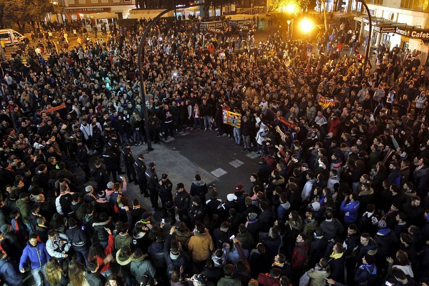 Supporters demonstrating against owner Peter Lim after Valencia's 4-1 defeat by Celta Vigo in the Copa del Rey on Tuesday.
