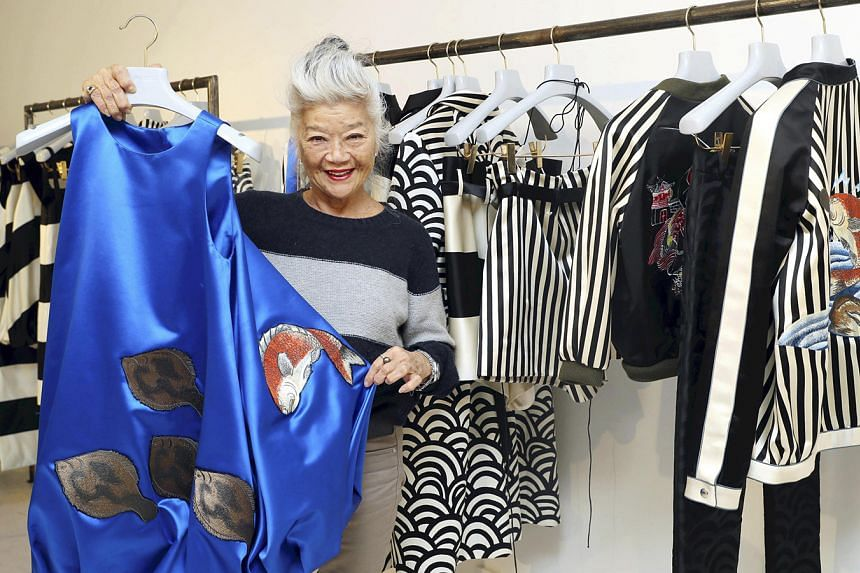 Junko Shimada with one of her pieces from the 2017 spring/summer Paris collection.