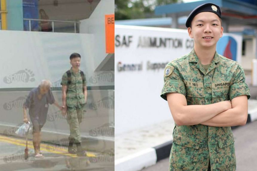 Private Randyne Neo accompanied an elderly man to buy a toothbrush, supporting him as they walked.