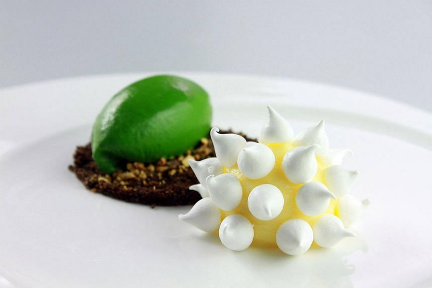 Lemon curd, meringue, lettuce ice cream and cocoa crumble from FOO'D by Davide Oldani.