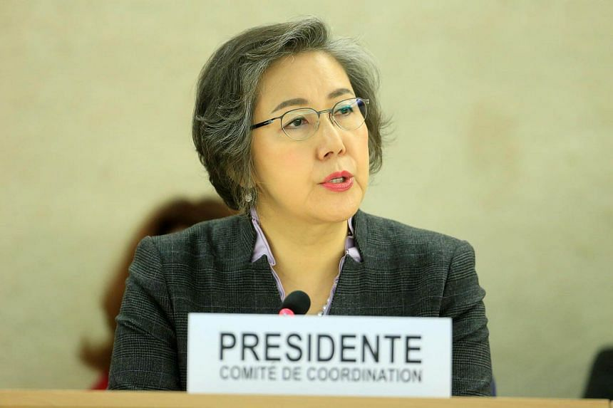 Chair of Coordinating Committee of Special Procedures Yanghee Lee addresses the Human Rights Council 26th Special Session on the human rights situation in South Sudan, Geneva, Switzerland on Dec 14, 2016.