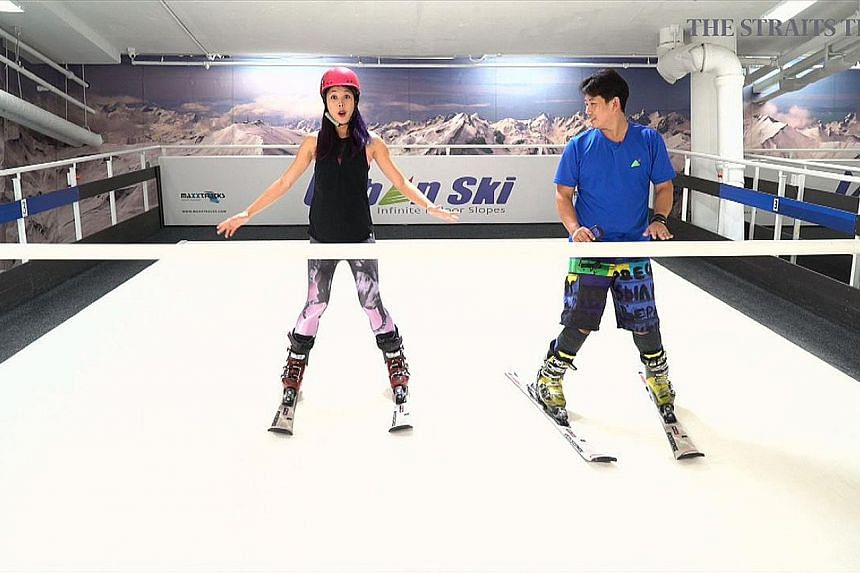 Above: Journalist Bridget Tan attempting the adjustable ski slope in Urban Ski, which is covered with a white nylon carpet sprayed with water to make the ride smoother. Left: Like a treadmill, the synthetic turf glides to simulate a downhill motion.