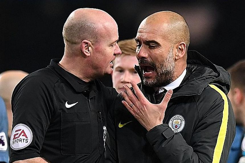 Manchester City manager Pep Guardiola confronting referee Lee Mason over his decisions after Monday's 2-1 Premier League win over Burnley.