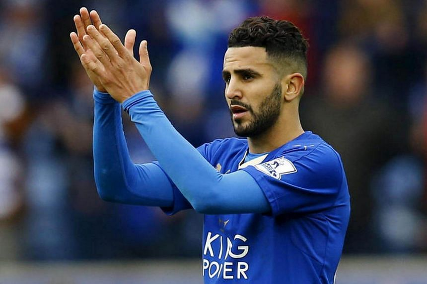 Leicester City's Riyad Mahrez applauds fans after the game against Swansea City.