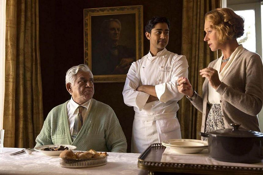 A cinema still from The Hundred-Foot Journey, starring (from left) Om Puri, Manish Dayal and Helen Mirren.
