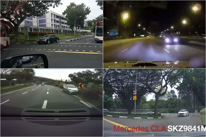 Cars spotted driving against traffic: (clockwise from left) a black Mercedes in Bedok on Dec 28, an unidentified car along the AYE on Jan 5, a white Mercedes along Cavenagh Road on Jan 5, and an unidentified car parked along the Central Expressway on