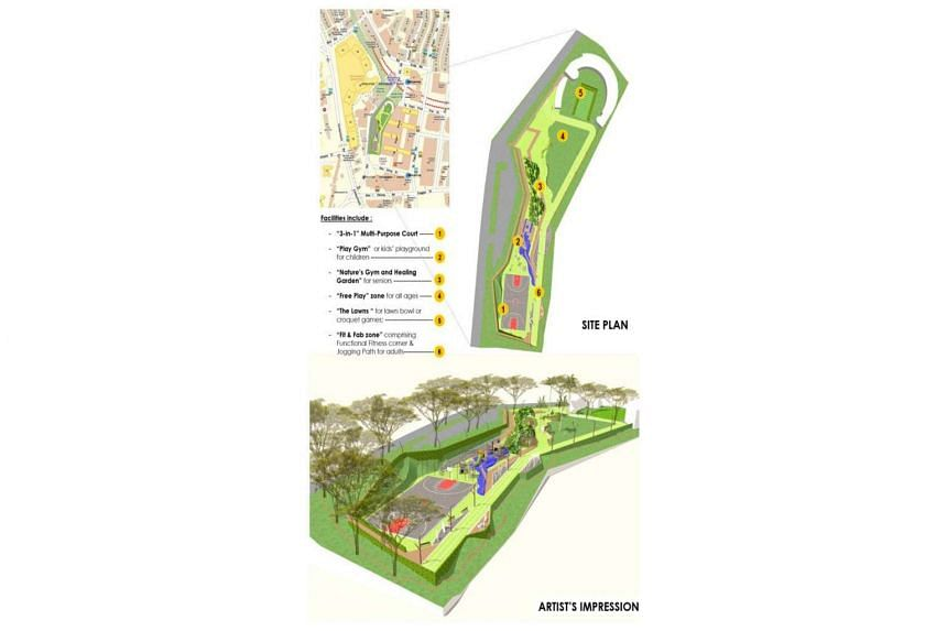 An artist's impression of the site plan and planned facilities at the site of the landmark Yan Kit Swimming Complex.