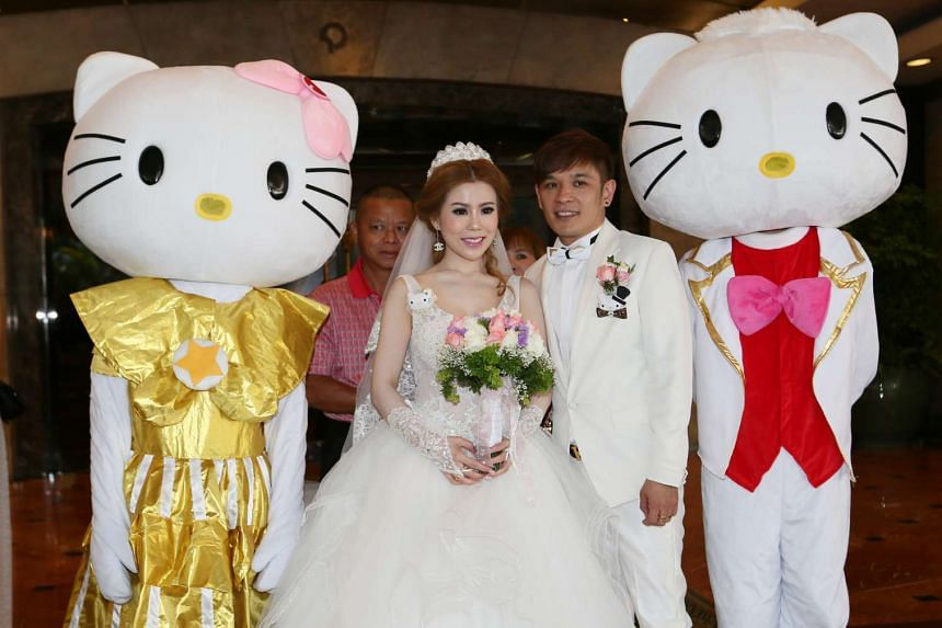 Mr Melvin Tan married Ms Zhang Tingting on Saturday at the five-star Regent hotel.
