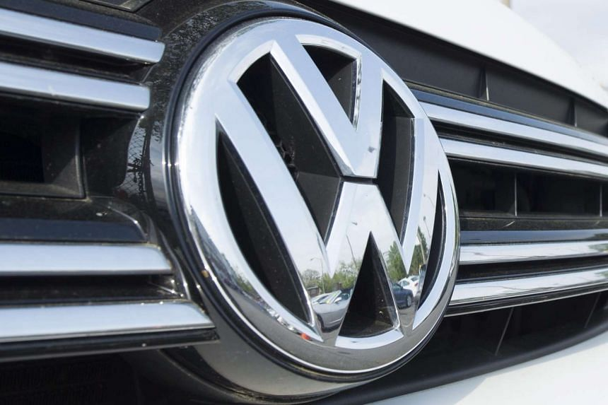 A file photograph showing Volkswagen logo on a car at a VW dealership in Alexandria, Virginia, on April 21, 2016.